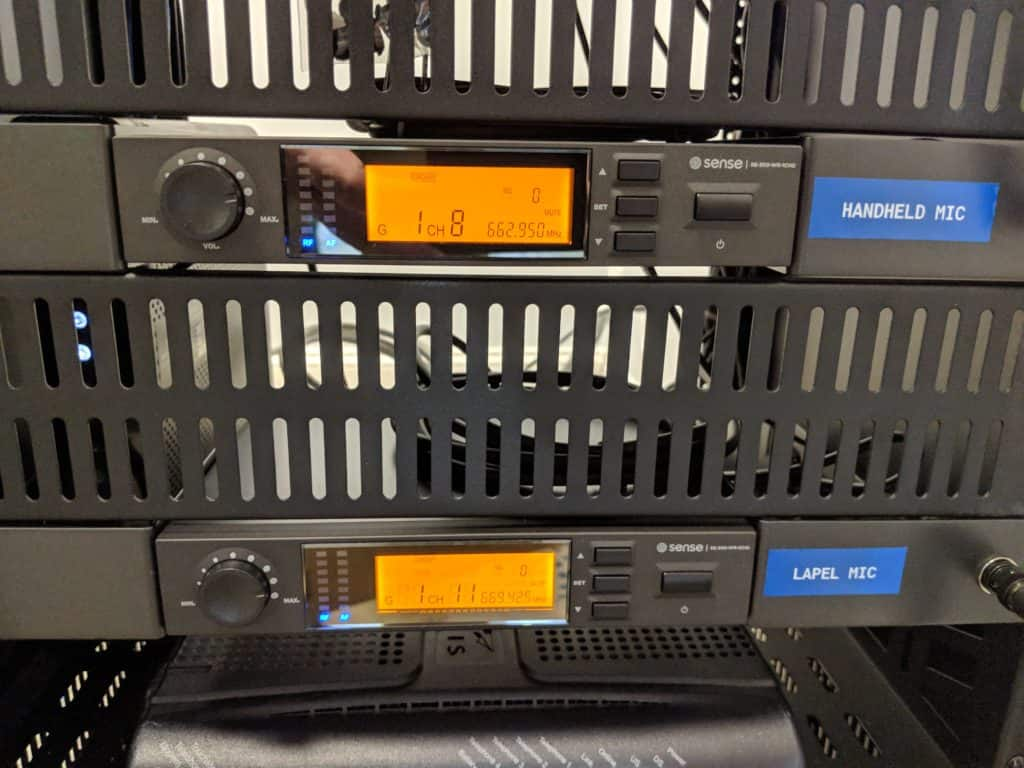 UHF Microphone receivers for each Microphone. Microphones